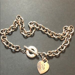 """Authentic Tiffany Heart """"B"""" Necklace"""